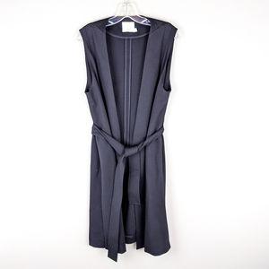 Vince | Black Belted Long Slit Cardigan-E12